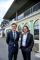 Wellington mayor Justin Lester and Cricket Wellington chief executive Cam Mitchell. NZ Cricket Museum Stand renovation announcement at the Basin Reserve in Wellington, New Zealand on Thursday, 10 May 2018. Photo: Dave Lintott / lintottphoto.co.nz