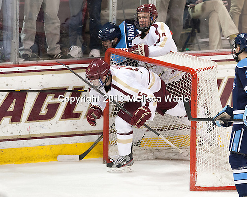 Cam Spiro (BC - 15), Steven Swavely (Maine - 11), Brooks Dyroff (BC - 14) - The visiting University of Maine Black Bears defeated the Boston College Eagles 3-1 for a weekend sweep on Saturday, January 26, 2013, at Kelley Rink in Conte Forum in Chestnut Hill, Massachusetts.