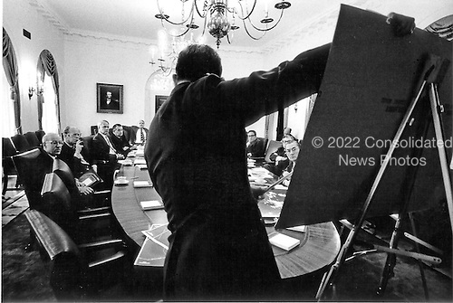 Members of the National Security Council (NSC) listen attentively as Air Force General David Jones, acting Chairman of the Joint Chiefs of Staff, briefs on the &quot;Mayaguez&quot; crisis in the Cabinet Room in the White House in Washington, D.C. on May 14, 1975.  From left to right: Robert S. Ingersoll, Assistant United States Secretary of State; United States President Gerald R. Ford; United States Secretary of Defense James Schlesinger; Deputy United States Secretary of Defense William P. Clements, Jr.; Counsel to the President Jack Marsh; United States Secretary of State Henry Kissinger; United States Vice President Nelson Rockefeller; and Director of Central Intelligence (CIA) William E. Colby.<br /> Mandatory Credit: David Hume Kennerly / White House via CNP