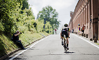 race preparations:  Simon Yates (GBR/Mitchelton-Scott) checking the TT prologue course that ends with a (very) steep 2 km climb to the Sanctuary of San Luca (in Bologna), ahead of the 102nd Giro d'Italia 2019<br /> <br /> ©kramon