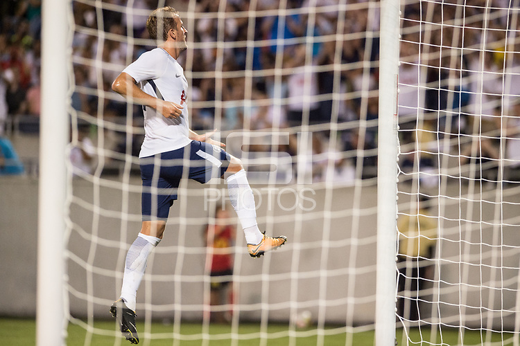 Orlando, FL - Saturday July 22, 2017: Harry Kane celebrates a goal during the International Champions Cup (ICC) match between the Tottenham Hotspurs and Paris Saint-Germain F.C. (PSG) at Camping World Stadium.