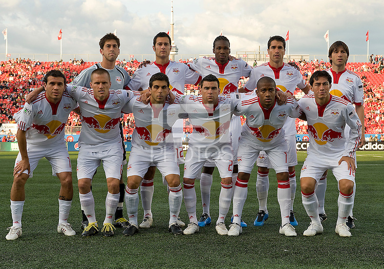 13 June2009: New York Red Bulls starting eleven during MLS action at BMO Field in Toronto, in a game between the New York Red Bulls and Toronto FC. Toronto FC won 2-1..