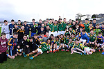 XXJOB 18-11-2015: Team captain Patrick Darcy lifts the cup with his teammates after St. Brendan's College Killarney won the Munster u-15 footbal final in Killarney on wednesday.<br /> Picture by Don MacMonagle