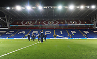A general view of Cardiff City Stadium, home of Cardiff City FC as the Bolton Wanderers squad inspects the pitch <br /> <br /> Photographer Kevin Barnes/CameraSport<br /> <br /> The EFL Sky Bet Championship - Cardiff City v Bolton Wanderers - Tuesday 13th February 2018 - Cardiff City Stadium - Cardiff<br /> <br /> World Copyright &copy; 2018 CameraSport. All rights reserved. 43 Linden Ave. Countesthorpe. Leicester. England. LE8 5PG - Tel: +44 (0) 116 277 4147 - admin@camerasport.com - www.camerasport.com