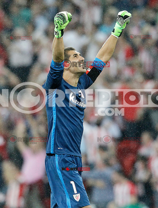 Athletic de Bilbao's Gorka Iraizoz celebrates goal during Supercup of Spain 1st match.August 14,2015. (ALTERPHOTOS/Acero)