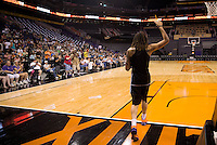 Jun. 10, 2013; Phoenix, AZ, USA: Phoenix Mercury center Brittney Griner greets fans in attendance during a team practice at the US Airways Center. Mandatory Credit: Mark J. Rebilas-