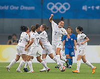 New Zealand forward (7) Ali Riley celebrates a goal during first round play in the 2008 Beijing Olympics at Qinhuangdao, China. .  Japan tied New Zealand, 2-2, at Qinhuangdao Stadium.