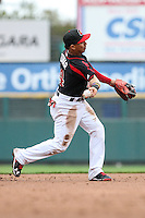 Rochester Red Wings shortstop Wilfredo Tovar (4) throws to first against the Scranton Wilkes-Barre Railriders on May 1, 2016 at Frontier Field in Rochester, New York. Red Wings won 1-0.  (Christopher Cecere/Four Seam Images)