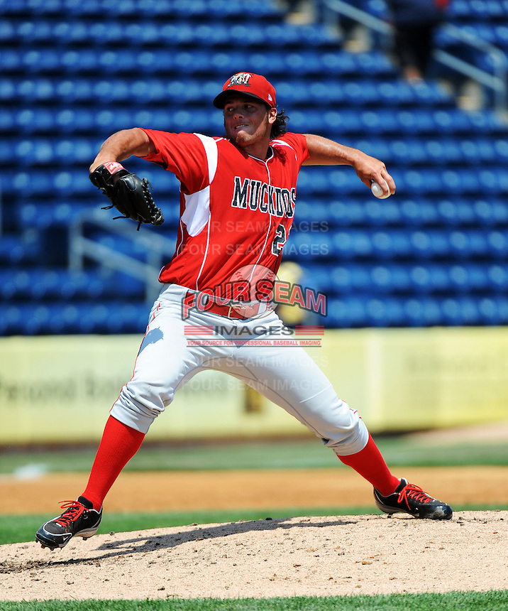 Batavia Muckdogs pitcher James Wooster (22) during game against the Staten Island Yankees at Richmond County Bank Ballpark at St.George on July 18, 2013 in Staten Island, NY.  Batavia defeated Staten Island 8-2.  (Tomasso DeRosa/Four Seam Images)