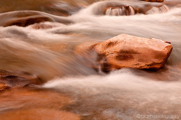 The last rays of sun reflection in a rushing river.