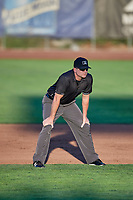 Second base umpire Pete Tilkington handles the calls on the bases during a game between the Ogden Raptors and the Grand Junction Rockies at Lindquist Field on September 7, 2018 in Ogden, Utah. The Rockies defeated the Raptors 8-5. (Stephen Smith/Four Seam Images)