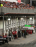 Corporate boxes oversee the pits during Race Two during Day Three of the Hamilton 400 Aussie V8 Supercars Round Two at Frankton, Hamilton, New Zealand on Sunday, 19 April 2009. Photo: Dave Lintott / lintottphoto.co.nz