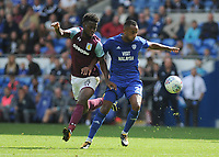 Aston Villa's Joshua Onomah vies for possession with Cardiff City's Loic Damour<br /> <br /> Photographer Ashley Crowden/CameraSport<br /> <br /> The EFL Sky Bet Championship - Cardiff City v Aston Villa - Saturday August 12th 2017 - Cardiff City Stadium - Cardiff<br /> <br /> World Copyright &copy; 2017 CameraSport. All rights reserved. 43 Linden Ave. Countesthorpe. Leicester. England. LE8 5PG - Tel: +44 (0) 116 277 4147 - admin@camerasport.com - www.camerasport.com