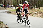 Tim Wellens (BEL) Lotto-Soudal and Simon Yates (GBR) Mitchelton-Scott attack near the end of Stage 6 running 198km from Sisteron to Vence, France. 9th March 2018.<br /> Picture: ASO/Alex Broadway | Cyclefile<br /> <br /> <br /> All photos usage must carry mandatory copyright credit (&copy; Cyclefile | ASO/Alex Broadway)
