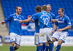 St Johnstone v Ross County...17.08.13 SPFL<br /> Stevie May celebrates his goal with Dave Mackay, David Wotherspoon, Steven Anderson and Frazer Wright.<br /> Picture by Graeme Hart.<br /> Copyright Perthshire Picture Agency<br /> Tel: 01738 623350  Mobile: 07990 594431