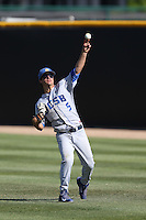 Luke Swenson (5) of the UC Santa Barbara Gouchos makes a throw during a game against the Cal State Northridge Matadors at Matador Field on April 10, 2015 in Northridge, California. UC Santa Barbara defeated Cal State Northridge, 7-4. (Larry Goren/Four Seam Images)