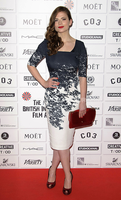 WWW.ACEPIXS.COM . . . . .  ..... . . . . US SALES ONLY . . . . .....December 4 2011, London....Hayley Atwell at the Moet British Independent Film Awards held at the Old Billingsgate Market on December 4 2011 in London....Please byline: FAMOUS-ACE PICTURES... . . . .  ....Ace Pictures, Inc:  ..Tel: (212) 243-8787..e-mail: info@acepixs.com..web: http://www.acepixs.com