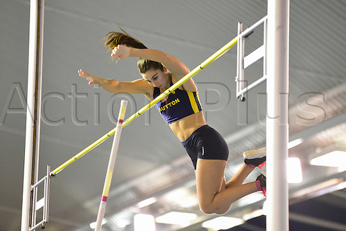 27.02.2016. EIS Sheffield, Sheffield, England. British Indoor Athletics Championships Day One. Jade Ive competes in the Pole-vault final.
