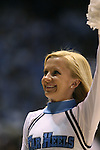 08 November 2008: UNC cheerleader. The University of North Carolina Tarheels defeated the University of North Carolina at Pembroke Braves 102-62 at the Dean E. Smith Center in Chapel Hill, NC in an NCAA exhibition basketball game.