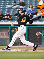 Salt Lake Bees third baseman Jeff Baisley #35 during a game vs. Tacoma Rainiers on April 26, 2011 at Spring Mobile Ballpark in Salt Lake City, Utah. Salt Lake Bees were defeated by Tacoma 8-4.  Photo By Matthew Sauk/Four Seam Images