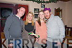 CRACKERS Pulling the last cracker to bring in the New Year in Kate Brownes Bar and Reataurant, Ardfert on 31 Janury 31st, L-r: Joe Breen, Miriam O Hara, Kim O'Connor and Jimmy O'Hara (Ardfert)...