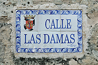 Painted street sign on tiles for the Calle de las Damas, in the Colonial Zone of Santo Domingo, capital of the Dominican Republic, in the Caribbean. Santo Domingo's Colonial Zone is listed as a UNESCO World Heritage Site. Picture by Manuel Cohen