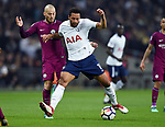 Mousa Dembele of Tottenham Hotspur is challenged by David Silva of Manchester City during the premier league match at the Wembley Stadium, London. Picture date 14th April 2018. Picture credit should read: Robin Parker/Sportimage