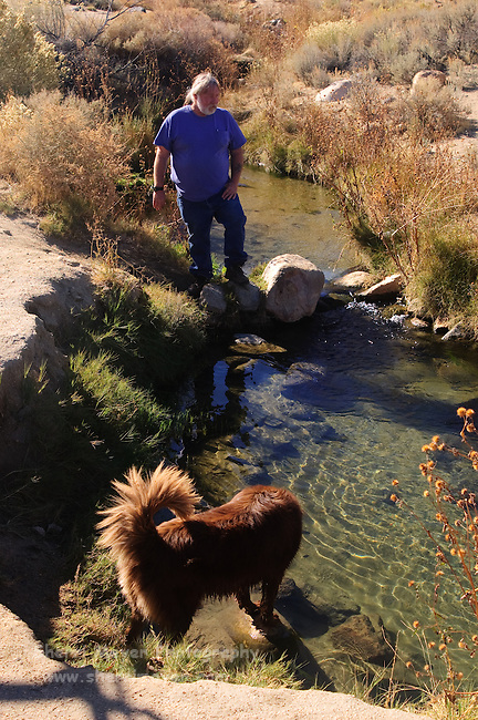 Looking for fishies in Keough Hot Ditch, Bishop California
