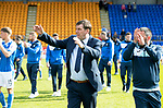 St Johnstone v Ross County&hellip;12.05.18&hellip;  McDiarmid Park    SPFL<br />Manager Tommy Wright and Callum Davidson lead a walk around the pitch at full time to applaud the fans<br />Picture by Graeme Hart. <br />Copyright Perthshire Picture Agency<br />Tel: 01738 623350  Mobile: 07990 594431