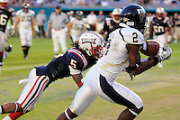 29 November 2008:  FIU wide receiver Junior Mertile (2) hauls in a Paul McCall pass which was later ruled out-of-bounds in the FAU 57-50 overtime victory over FIU in the annual Shula Bowl at Dolphin Stadium in Miami, Florida.