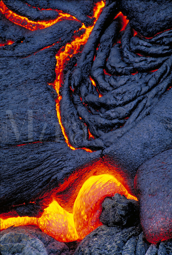 Kilauea Volcano - Pahoehoe lava flow. Hawaii, Volcanoes National Park.
