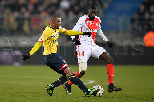 10.01.2017. Stade Bonal, Montbéliard, France. French League cup football, Sochaux versus Monaco.  Faneva ANDRIATSIMA (soc) crosses into the box ahead of the block from TIEMOUE BAKAYOKO (mon)