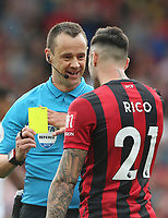Bournemouth's Diego Rico receives a yellow card from referee Stuart Attwell<br /> <br /> Photographer Rob Newell/CameraSport<br /> <br /> The Premier League - Bournemouth v West Ham United - Saturday 28th September 2019 - Vitality Stadium - Bournemouth<br /> <br /> World Copyright © 2019 CameraSport. All rights reserved. 43 Linden Ave. Countesthorpe. Leicester. England. LE8 5PG - Tel: +44 (0) 116 277 4147 - admin@camerasport.com - www.camerasport.com