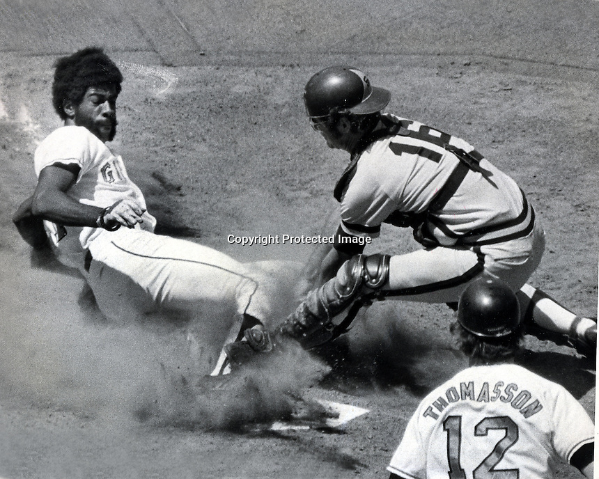 San Francisco Giants 1973 photo,Gary Maddox slides into home, San Diego catcher Fred Kendall.<br />