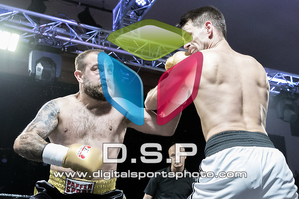 Lewis Kennedy vs Fabio Esposito EBA Light Cruiserweight Southern Area title Contest During EBA Boxing: Prizefighter. Photo by: Simon Downing.<br /> <br /> Saturday July 29th 2017 - Grays Civic Hall, Grays, Essex, United Kingdom.