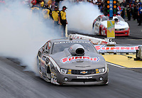 May 10, 2013; Commerce, GA, USA: NHRA pro stock driver Greg Anderson during qualifying for the Southern Nationals at Atlanta Dragway. Mandatory Credit: Mark J. Rebilas-