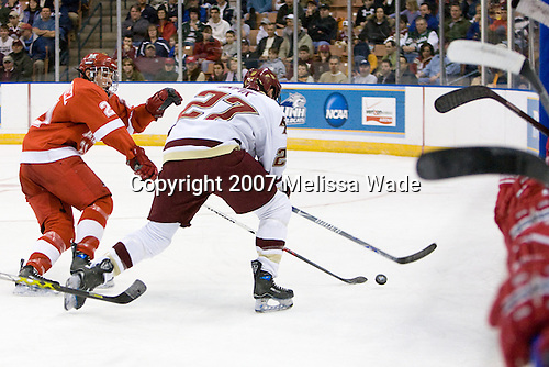 Alec Martinez (MiamiU - Rochester, MI), Andrew Orpik (Boston College - East Amherst, NY) - The Boston College Eagles defeated the Miami University Redhawks 4-0 in the 2007 NCAA Northeast Regional Final on Sunday, March 25, 2007 at the Verizon Wireless Arena in Manchester, New Hampshire.