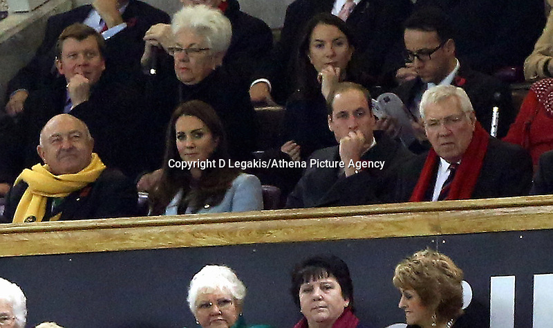 Pictured: Princess Kate and Prince William watching the game. Saturday 08 November 2014<br /> Re: Dove Men Series rugby, Wales v Australia at the Millennium Stadium, Cardiff, south Wales, UK.