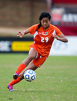 Blake Stockton (29) of Miami carries the ball during the game at Ludwig Field in College Park, MD.  Maryland defeated Miami, 2-1, in overtime.