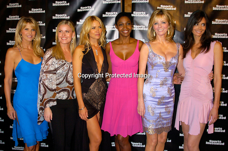 Christie Brinkley, Vendala, Valaria Mazza, Roshumba Williams, Cheryl Tiegs and Stacey Williams..at the 2004 Sports Illustrated Swimsuit Issue Press Event at ..Deep in NYC on Tuesday 10, 2004.                              Photo by Robin Platzer, Twin Images