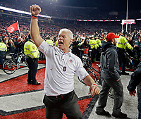 Ohio State Buckeyes assistant coach Kerry Coombs celebrates after beating Penn State Nittany Lions 39-38 in Ohio Stadium on October 28, 2017.  [Kyle Robertson/Dispatch]