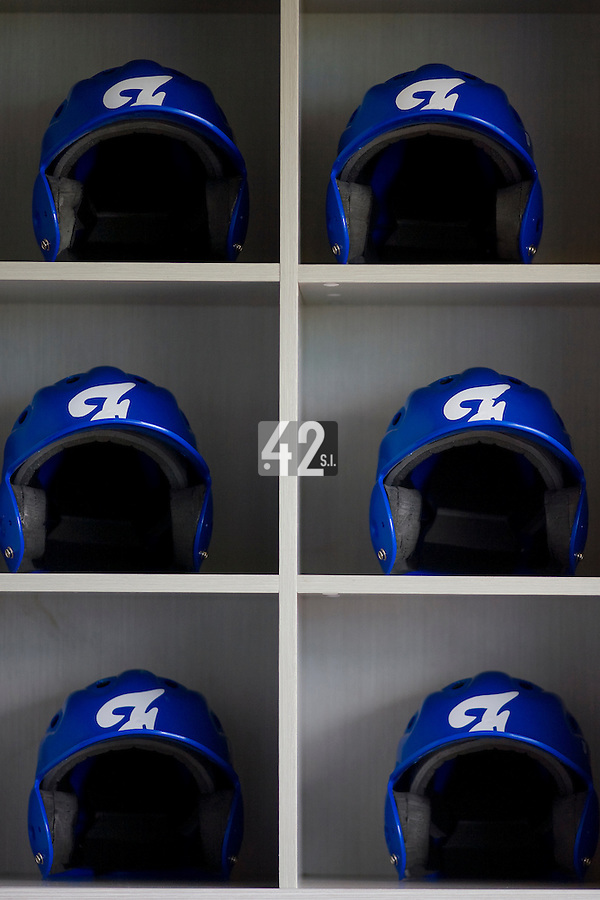 18 August 2007: France's helmets lie in the dugout during the China 5-1 victory over France in the Good Luck Beijing International baseball tournament (olympic test event) at the Wukesong Baseball Field in Beijing, China.