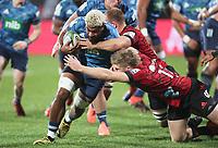 11th July 2020; Christchurch, New Zealand;  Hoskins Sotutu runs into contact. Crusaders versus Blues in the Super Rugby Aotearoa. Orangetheory Stadium, Christchurch,