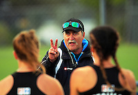 NZ coach Mark Hager talks to his team after the international women's hockey match between the New Zealand Black Sticks and Malaysia at TET Stadium, Stratford, New Zealand on Thursday, 15 December 2016. Photo: Dave Lintott / lintottphoto.co.nz