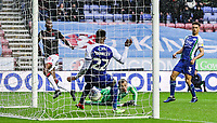 Bolton Wanderers' Sammy Ameobi scoring his side's second goal <br /> <br /> Photographer Andrew Kearns/CameraSport<br /> <br /> The EFL Sky Bet Championship - Wigan Athletic v Bolton Wanderers - Saturday 16th March 2019 - DW Stadium - Wigan<br /> <br /> World Copyright &copy; 2019 CameraSport. All rights reserved. 43 Linden Ave. Countesthorpe. Leicester. England. LE8 5PG - Tel: +44 (0) 116 277 4147 - admin@camerasport.com - www.camerasport.com
