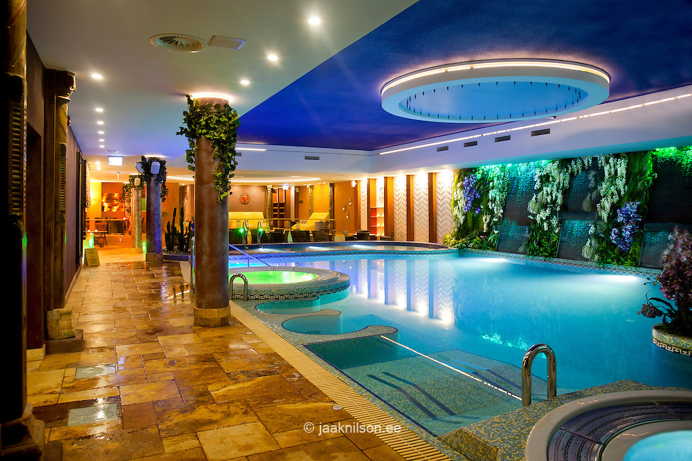 Lighted large colorful swimming pool and thermal bath in - Hotels in bath with swimming pool ...