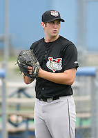 2007:  Jacob Leonhardt of the Tri-City Valley Cats, Class-A affiliate of the Houston Astros, during the New York-Penn League baseball season.  Photo by Mike Janes/Four Seam Images