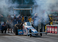Mar 15, 2019; Gainesville, FL, USA; NHRA top alcohol dragster driver Justin Ashley during qualifying for the Gatornationals at Gainesville Raceway. Mandatory Credit: Mark J. Rebilas-USA TODAY Sports