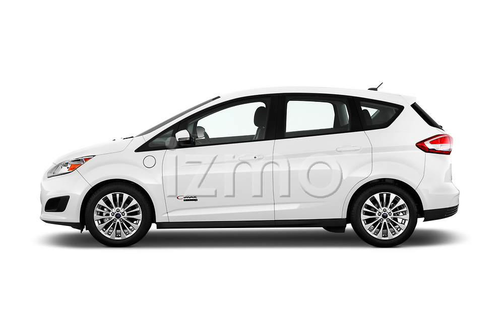 Car driver side profile view of a 2018 Ford C-Max PHEV SE 5 Door Mini Van