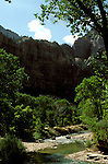 UT: Utah; Zion National Park, Horseback riding along the Virgin River      .Photo Copyright: Lee Foster, lee@fostertravel.com, www.fostertravel.com, (510) 549-2202.Image: utzion215